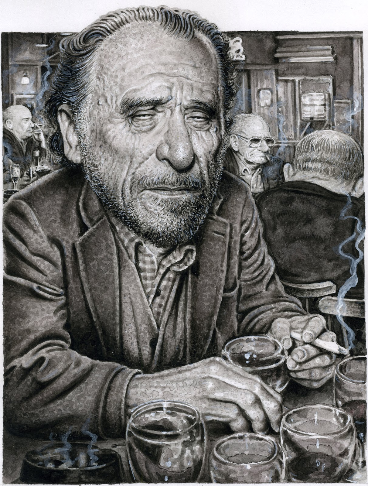 Drew Friedman's Portrait of Charles Bukowski