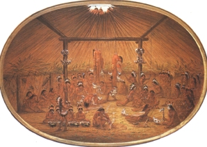 The okipa ceremony as witnessed by George Catlin, circa 1835.