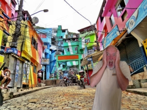 yours truly running down a street in Rio