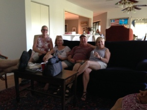 from left to right Pat's feet, his sister Kathy, wife Cassandra, brother Mike and sister-i-law Jeannie