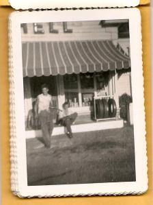 "My Uncle Jerry and Jack Delk in front of ""The Nation Station"" in the 1950's"