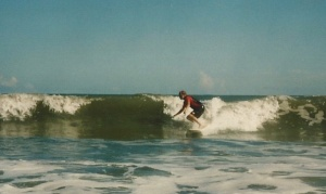 yours truly surfing in the mid-90's