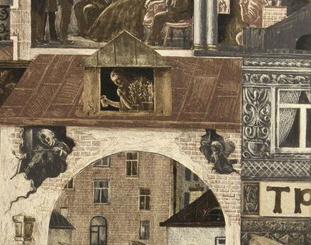 Detail from Viktor Semenovich Vilner - Embankment, Scenes from Dostoyevsky's 'Crime and Punishment', 1971