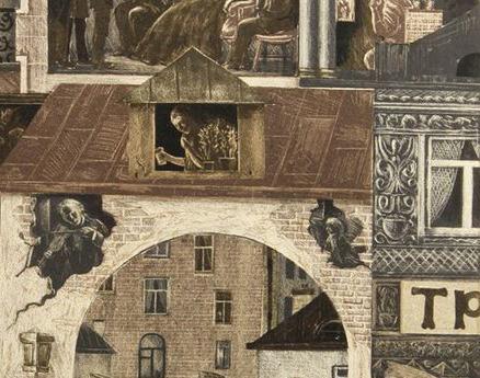 Detail from Viktor Semenovich Vilner - Embankment, Scenes from Dostoyevsky's 'Crime and Punishment', 1971