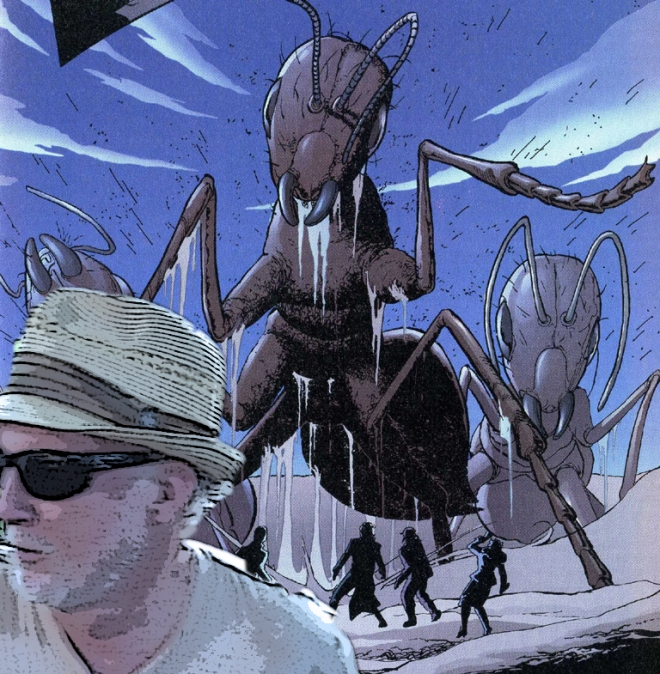 the author fleeing from an ant attack