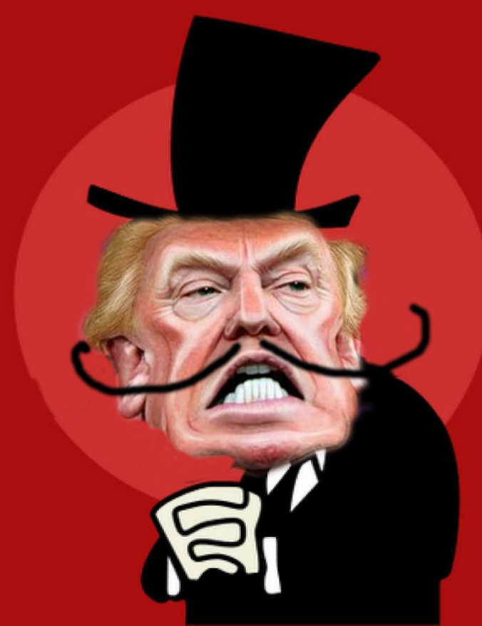 Donald Trump caricature, creative commons via Flickr and Jay Ward's Snidely Whiplash photoshopped by WLM3