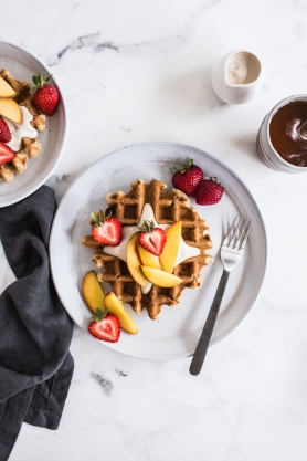 Vegan+Vanilla+Waffles+with+Vanilla+Maple+Cashew+Cream+|+Edible+Perspective