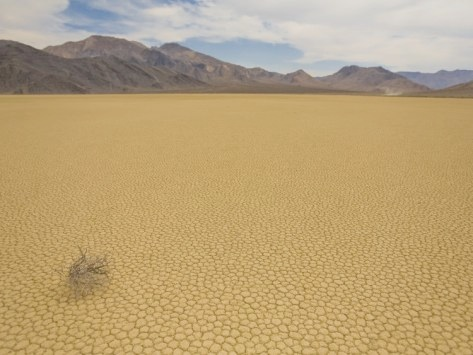 Mike Theiss: Tumbleweed and Patterned, Cracked Desert Floor, and Nearby Mountains