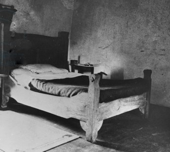 TPG392639 Bedroom with the bed of W. B. Yeats (b/w photo) by .; Thoor Ballylee, County Galway, Ireland; (add.info.: William Butler Yeats (1865-1938) Irish poet and dramatist; bed made by a local carpenter;);  out of copyright