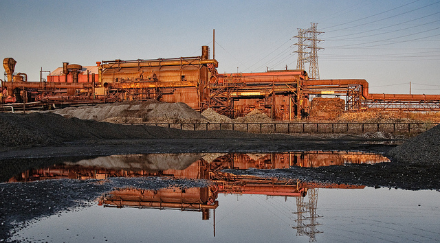 rusted-out factory