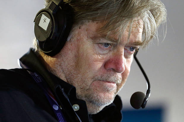 CLEVELAND, OH - JULY 20: Stephen K. Bannon looks at his computer to see who will be the next caller he will talk to while hosting Brietbart News Daily on SiriusXM Patriot at Quicken Loans Arena on July 20, 2016 in Cleveland, Ohio. (Photo by Kirk Irwin/Getty Images for SiriusXM)