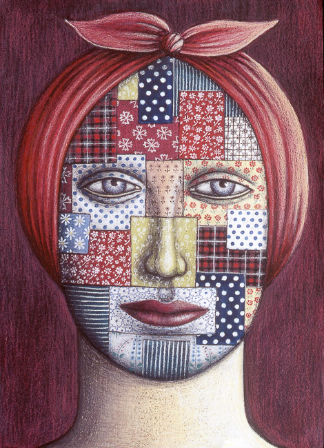 Patchwork_Face_1997_Oil_pastel_75_x_55_cm