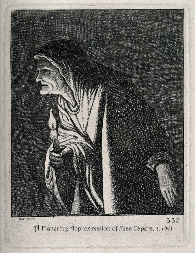 V0025881 The witch of Endor with a candle. Engraving by J. Kay, 1805,